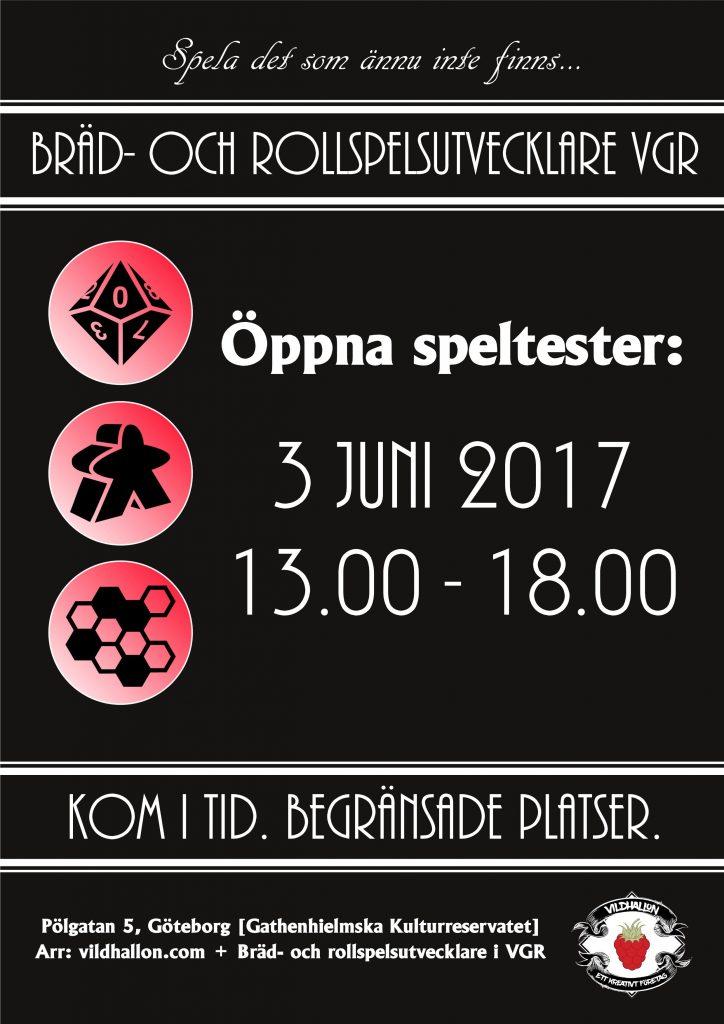 Affisch för öppna speltester i Göteborg 3 juni 2017